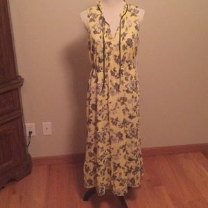 Kensie yellow floral maxi dress brand new